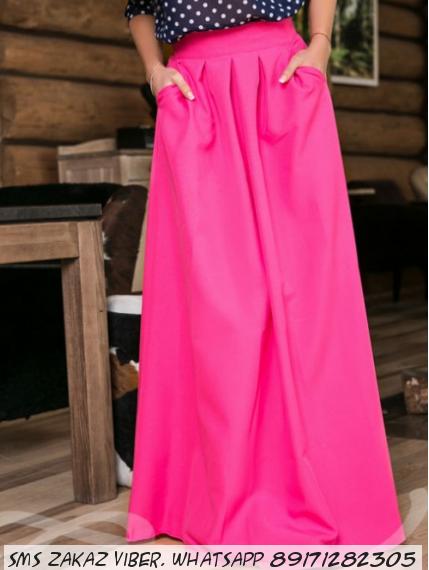 Длинная юбка с карманами цвет ярко-розовый
